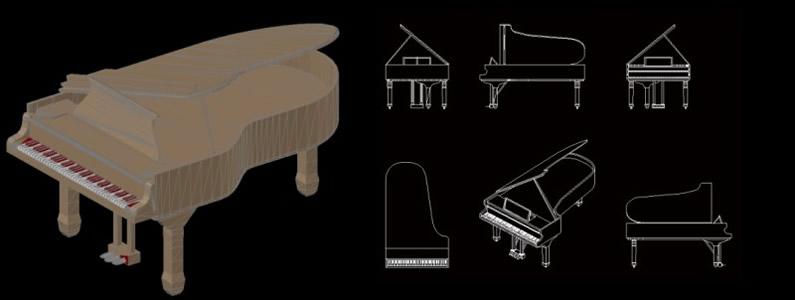 Planos de piano de cola en 3d en dwg autocad instrumentos for Muebles 3d autocad