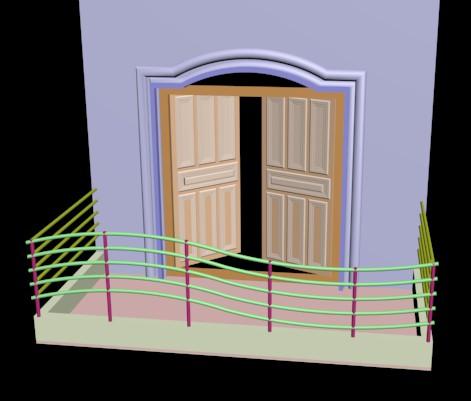 Planos de puerta de balcon 3d en max puertas 3d for Puerta balcon