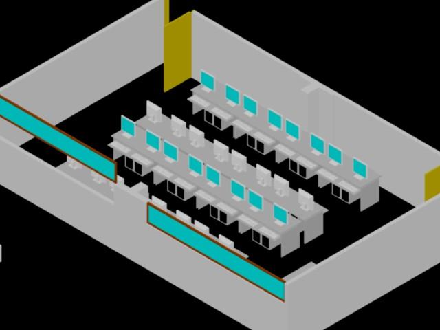 Planos de Salon de computo en 3d en DWG AUTOCAD, Educación - Muebles ...