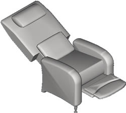 Planos de sill n reclinable en 3d en dwg autocad sillones for Muebles 3d autocad