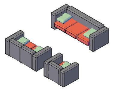Planos de sofa modelado en auto cada en dwg autocad for Planos de sillones