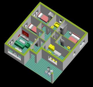 imagen Vivienda 3d - interior en DWG