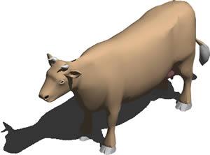 imagen Vaca 3d con materiales aplicados, en Animales 3d - Animales