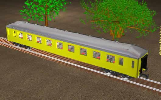 imagen Vagon de tren sobre via, en Ferrocarriles - Medios de transporte