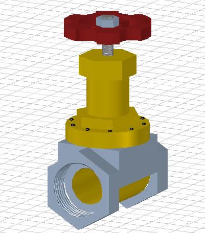 imagen Válvula 3d, en Red provisión de agua - Infraestructura