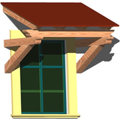 imagen Ventana en 3d - alero con estructura de madera, en Ventanas 3d - Aberturas