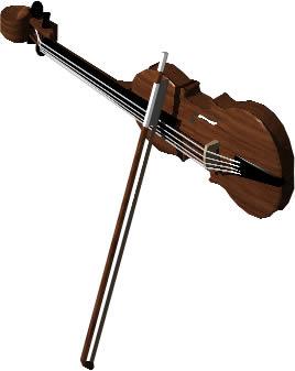 imagen Violín y arco 3d con materiales aplicados, en Instrumentos musicales - Muebles equipamiento