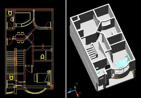 imagen Vivienda 3d, en Lecciones 3d studio max - Dibujando con autocad