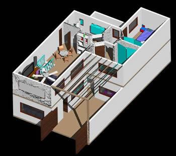 imagen Vivienda amoblada 3d, en Vivienda unifamiliar 3d - Proyectos