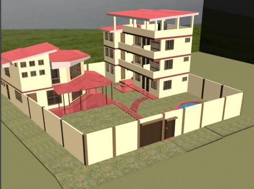 imagen Vivienda familiar y hospedaje 3d, en Vivienda unifamiliar 3d - Proyectos