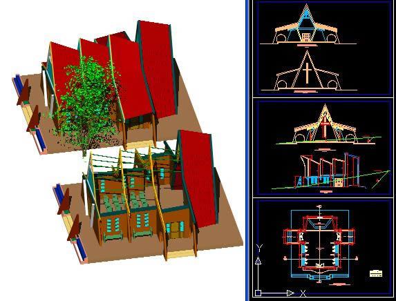 Planos de 3d capilla pocollay, en Arq. religiosa – Proyectos