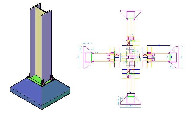 Planos de 3d  columna de acero, en Estructuras de acero – Detalles constructivos