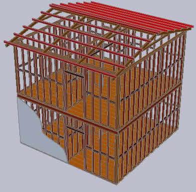 Planos de 3d de estructura de madera de una casa dos niveles, en Madera – técnica tradicional – Sistemas constructivos