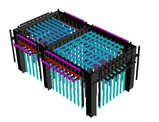 imagen 3d estructura formato  de madera, en Encofrados deslizantes - Detalles constructivos