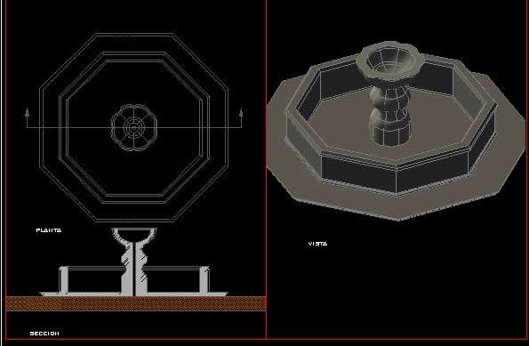 Planos de 3d fuente colonial, en Pérgolas fuentes y elementos decorativos – Parques paseos y jardines