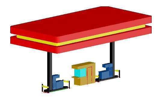 imagen 3d ga solinera 3d lineal 2surtidores  caseta, en Estaciones de servicio - Proyectos