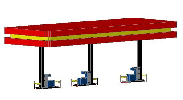 Planos de 3d ga solinera 3d lineal 3 surtidores  caseta 3d, en Estaciones de servicio – Proyectos