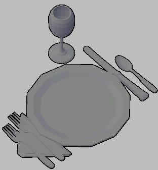 Planos de 3d platos;cubiertos;copas, en Vajilla – Muebles equipamiento