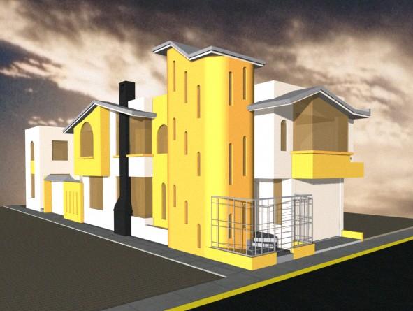 3d vivienda unifamiliar en esquina, en Vivienda unifamiliar 3d – Proyectos