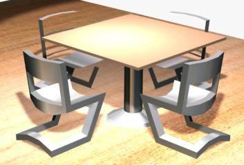 4 sillas y mesa 3d, en Bares y restaurants – Muebles equipamiento