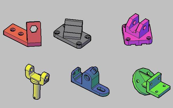 Planos de 6 piezas mecanicas en 3d, en Válvulas tubos y piezas – Máquinas instalaciones