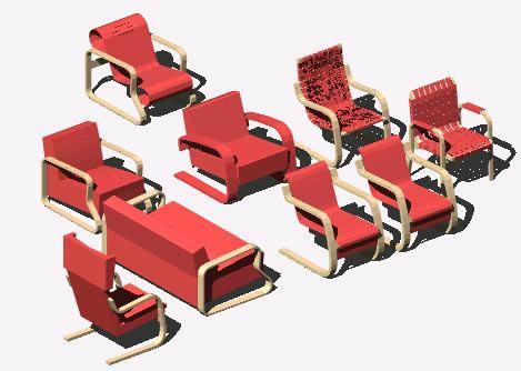 Planos de Aalto coleccion de sillas 3d, en Sillas 3d – Muebles equipamiento
