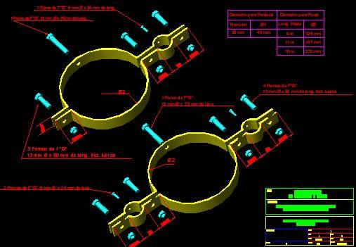 Planos de Abrazaderas, en Válvulas tubos y piezas – Máquinas instalaciones