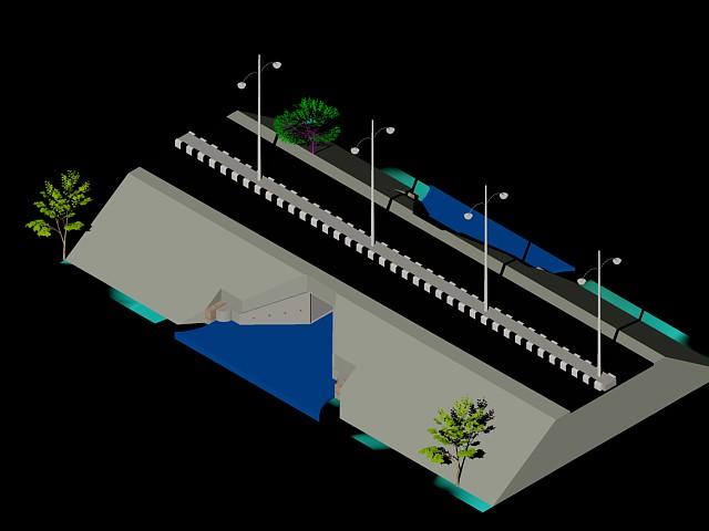 imagen Alcantarilla bajo carretera, en Carreteras caminos y calles - Obras viales - diques