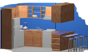 Planos de Amoblamiento de cocina en 3d, en Cocinas – Muebles equipamiento