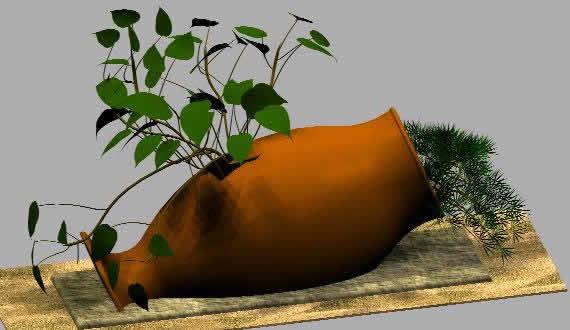 Planos de Anfora de jardin 3d, en Plantas de interior 3d – Arboles y plantas