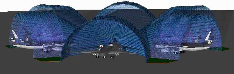 Planos de Angar de aviones 3d, en Aeronaves en 3d – Medios de transporte
