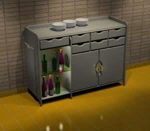imagen Aparador con expositor de bebidas 3d, en Bares y restaurants - Muebles equipamiento
