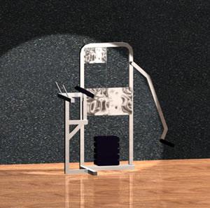 Aparato de gimnasio 3d con materiales aplicados, en Equipamiento gimnasios – Deportes y recreación