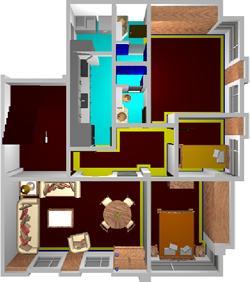 Planos de Apartamento 3d amoblado, en Vivienda unifamiliar 3d – Proyectos