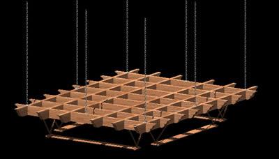 Planos de Apergolado de madera sostenido por cadenas de acero 3d con materiales, en Pérgolas fuentes y elementos decorativos – Parques paseos y jardines