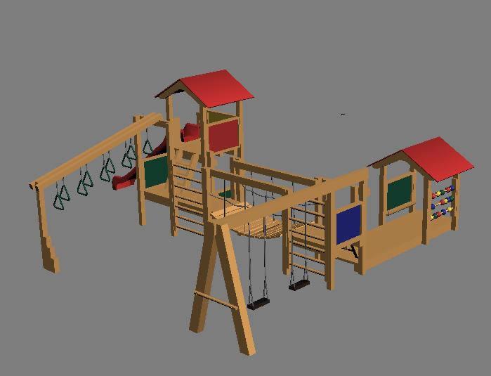 Area de juegos jardin 3d, en Juegos infantiles – Equipamiento urbano