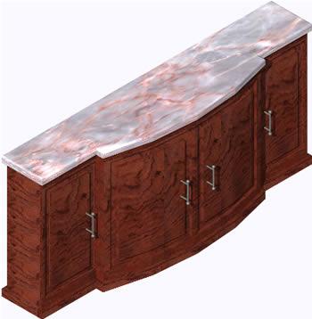 Planos de Armario 3d para comedor con materiales aplicados, en Estanterías y modulares – Muebles equipamiento