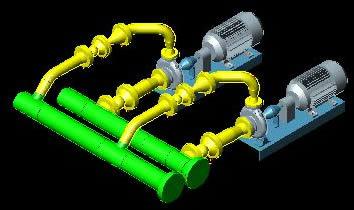 Planos de Arreglo tipico bomba centrifuga 3d, en Equipos de bombeo – Máquinas instalaciones
