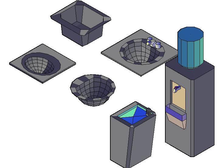 Planos de Artefactos sanitarios 3d, en Lavatorios – Sanitarios