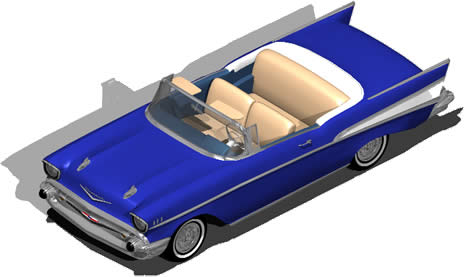 Planos de Automovil 1957 chevrolet bel-air 3d con materiales aplicados, en Automóviles en 3d – Medios de transporte