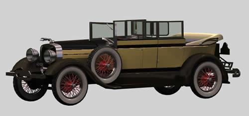 Automovil 3d con materiales aplicados lincoln car, en Automóviles en 3d – Medios de transporte