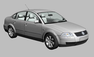 Automovil 3d vw passat con materiales aplicados, en Automóviles en 3d – Medios de transporte
