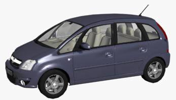 Automovil opel meriva, en Automóviles en 3d – Medios de transporte
