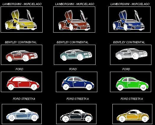 Planos de Autos lujosos, en Automóviles en 2d – Medios de transporte