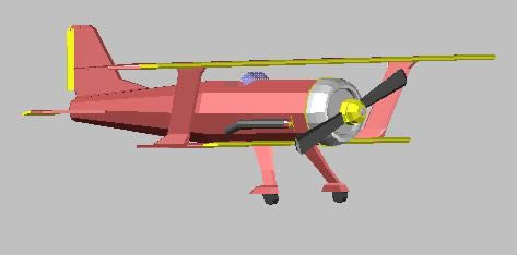 imagen Avion biplano 3d, en Aeronaves en 3d - Medios de transporte