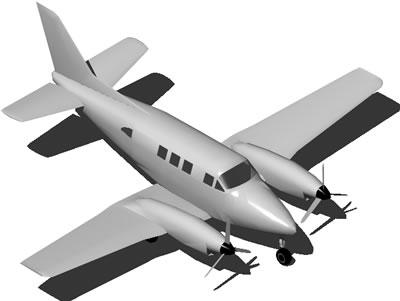 Planos de Avion chico bimotor a helice 3d, en Aeronaves en 3d – Medios de transporte