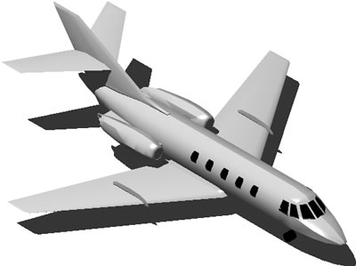 Planos de Avion jet 2 turbinas 3d con materiales aplicados, en Aeronaves en 3d – Medios de transporte