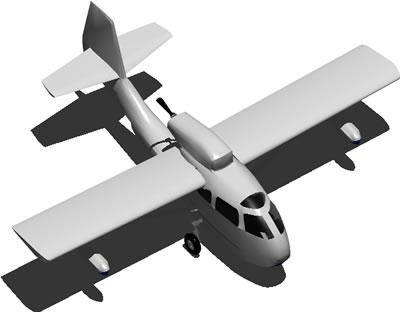 Planos de Avion monomotor a helice 3d, en Aeronaves en 3d – Medios de transporte