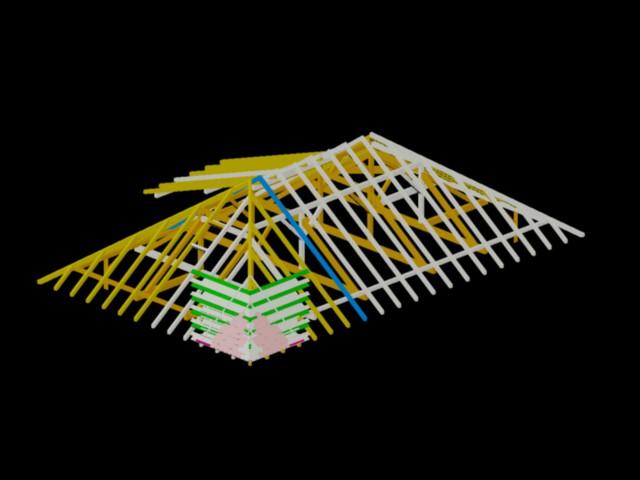 imagen Axonometrica techo de madera 3d, en De madera - Detalles constructivos