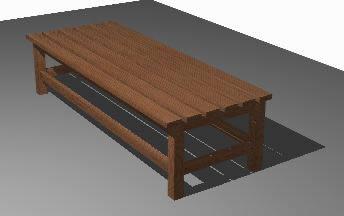 Planos de Banca de madera 3d, en Equipamiento – Parques paseos y jardines
